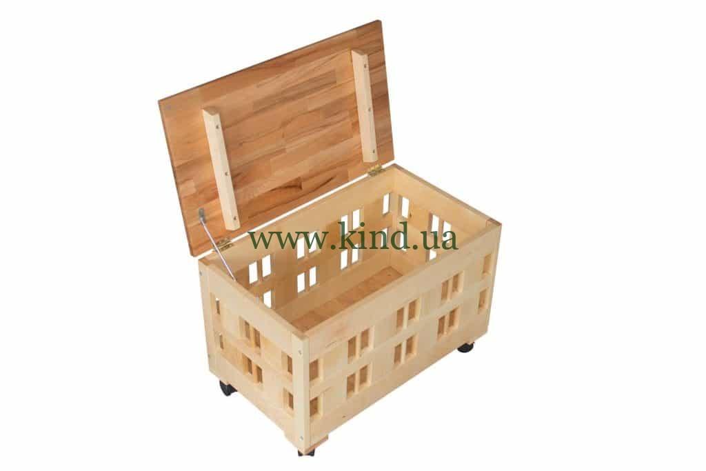 Купить детский ящик для игрушек из дерева на колёсиках - прямо со склада