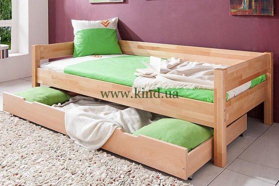 Кровать из натурального дерева с выдвижным ящиком